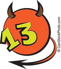 devilish ball with number thirteen - devilish ball with...
