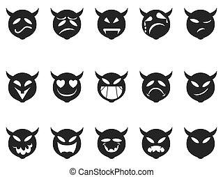 Devilish expressions smiley icons - isolated Devilish...