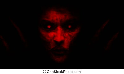 Devilish woman appears from dark and kisses. Animation in...