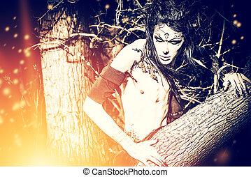 devilry - A fantasy hero in a wild desolate forest. Art...