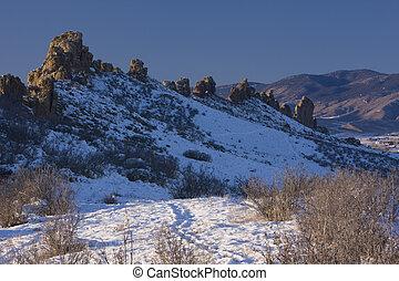 Devil's Backbone rock formation in winter scenery, Colorado