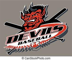 devils baseball team design with mascot for school, college...