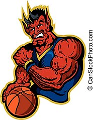 devils basketball mascot with ball for school, college or...