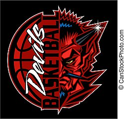 devils basketball team design with ball and half mascot for...