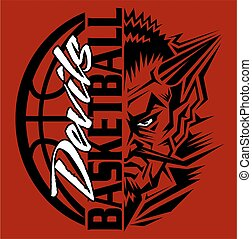 devils basketball team design with ball and mascot for...