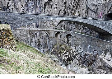 Devil's bridge at St. Gotthard pass, Switzerland. Alps. Europe