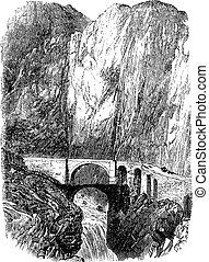 Devil's Bridge in Uri, Switzerland, vintage engraving