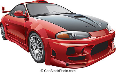 devil's car - Detail vector image of modern custom car,...
