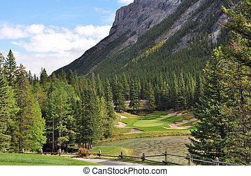 The famous 6th hole at the Banff Springs Golf Club in Alberta, Canada