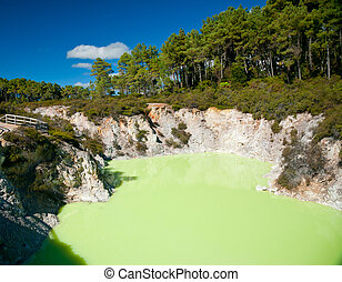 Devil's Cave pool at Wai-O-Tapu geothermal area in New Zealand