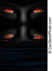 Devil\'s eyes - Man with red devil\'s eyes