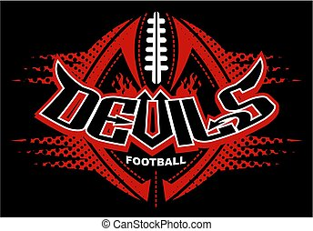 devils football team design with ball and laces for school,...