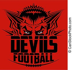 devils football team design with half mascot and laces for...