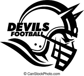 devils football team design with helmet and facemask for...