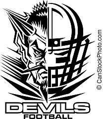 devils football team design with mascot and facemask for...