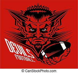 devils football team design with mascot holding ball in claw...