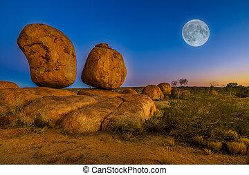 Devils Marbles full moon