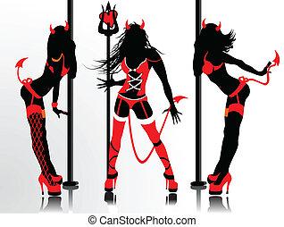 devil's, siluetas, trajes, erótico, vector, mujeres