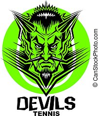 devils tennis team design with mascot head inside ball for...