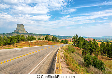 Devils Tower and Highway - Devils Tower National Monument...