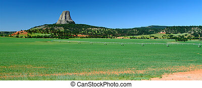Panoramic view of an agricultural area near Devils Tower in Wyoming.