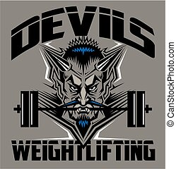 devils weightlifting team design with mascot and barbell for...