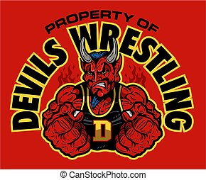 devils wrestling team design with muscular mascot for...