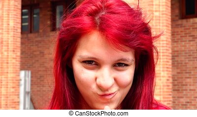 Devious And Sinister Teen Girl With Red Hair