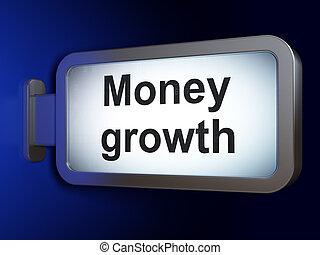 devise argent, croissance, fond, panneau affichage, concept: