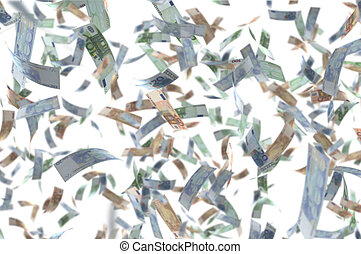 devise argent, fond, tomber, blanc, euro