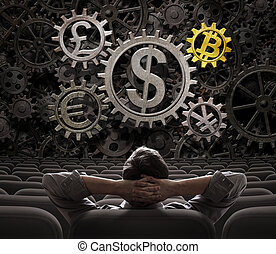 devises, commerçant, bitcoin, illustration, regarder,...