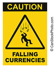 devises, macro, isolé, signe, avertissement, prudence, tomber