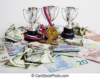 devises, tasses or, trois, rubl, enjôleur, divers, endroit, dollar, euro, sport, médaille, concept:, premier