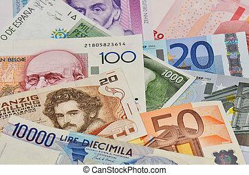 devises, vieux, européen