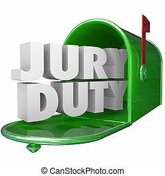 devoir, avis, jury, légal, boîte lettres, responsabilité,...