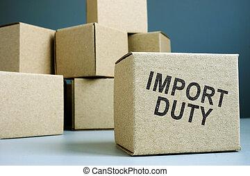 devoir, concept., boxes., tas, importation, carton