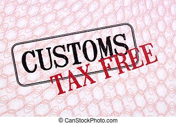devoir, impôt, haut, gratuite, douane, timbres, passeport, fin, page