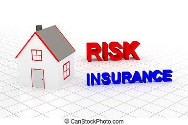 devoir, insurance., rendering., maison, vous, choisir, 3d