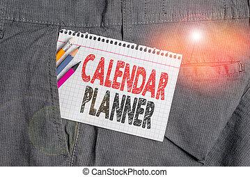 devoir, photo, ou, conceptuel, calendrier, blanc, planner., être, main, intérieur, horaire, projection, activités, complété, tâche, note, équipement affaires, trousers., poche, papier, texte, écriture