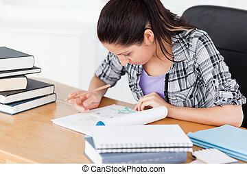 devoirs, étudiant, jeune