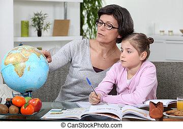 devoirs, fille, jeune, elle, mère
