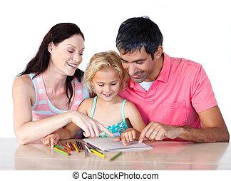 devoirs, fille, parents, leur, portion