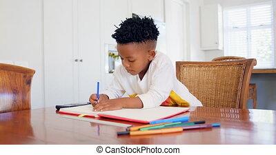 devoirs, noir, maison, sien, attentif, confortable, vue, garçon, 4k, devant