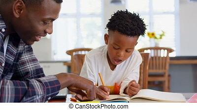 devoirs, noir, maison, sien, côté, confortable, vue, père, fils, portion, 4k