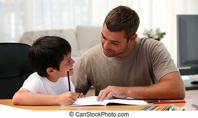 devoirs, père, sien, garçon
