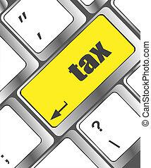 devolución fiscal, -, naranja, botón, en, computadora, keyboard., internet, concepto