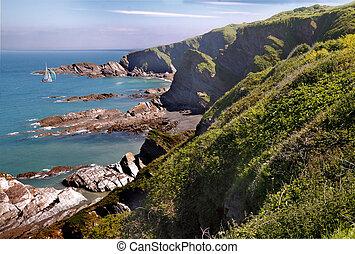 The coast near Ifracombe in Devon, England.