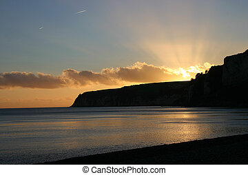 Devon Sunset - Sunset over Beer Headland taken from the ...