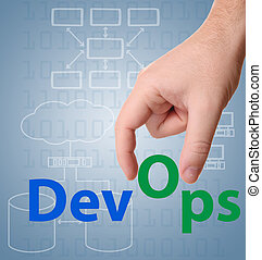 DevOps (Development & Operations) concept sign with hand.