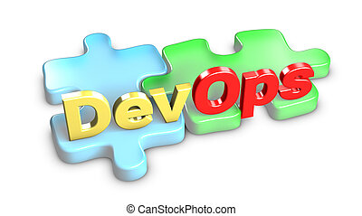 DevOps means development and operations. 3d rendering. -...